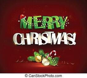 Merry Christmas inscription and festive still life