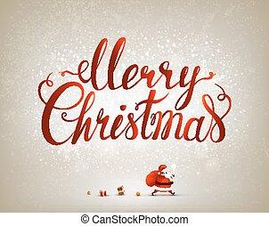 Merry Christmas inscription on the festive background