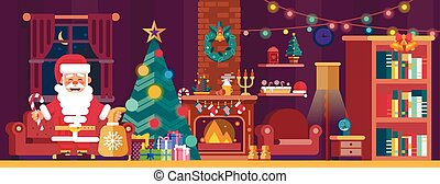 Merry Christmas interior with spruce and Santa Claus