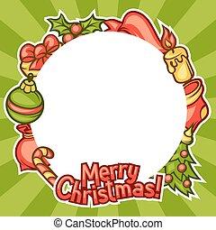 Merry Christmas invitation frame with holiday symbols
