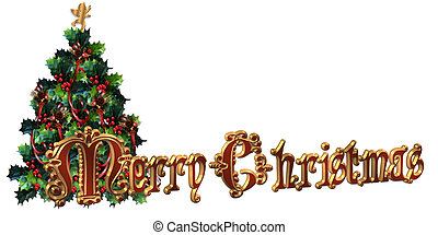 Merry Christmas Label design 3D tex - Merry Christmas...