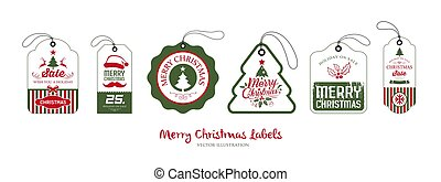 Merry Christmas label vector collections design