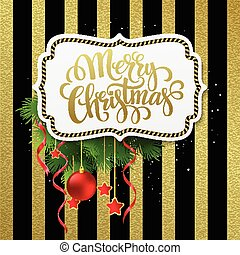 Merry christmas label with gold lettering. Vector Illustration