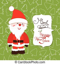 merry christmas label with santa