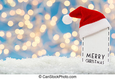 Merry christmas, label with santa hat