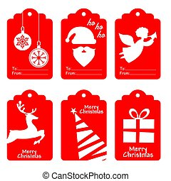 merry christmas labels set