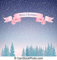 Merry Christmas Landscape and Pink Ribbon