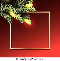 merry christmas leafs with bulbs lights in golden frame
