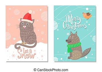 Merry Christmas let it Snow 70s Theme Postcard - Merry...