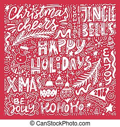 Merry Christmas Lettering - Complex Christmas lettering. ...