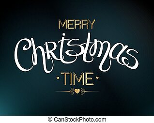 Merry Christmas lettering design. Text for holiday design. Vector illustration EPS 10