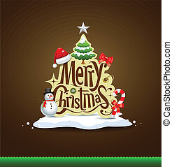 Merry Christmas lettering design greeting card background,...