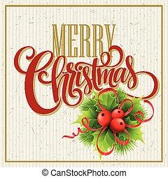 Merry Christmas Lettering Design. Vector illustration