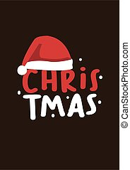 Merry Christmas lettering design with santa hat.