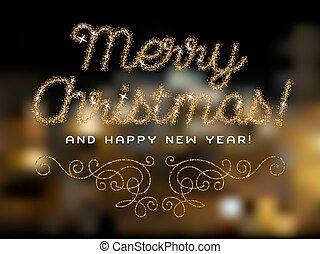 Merry Christmas lettering gold glitter font