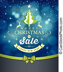 Merry Christmas lettering green tree sale design