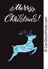 Merry Christmas lettering Greeting Card with a deer. Vector illustration