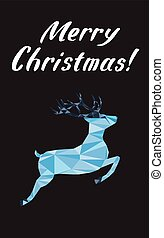Merry Christmas lettering Greeting Card with a deer. Vector illustration.
