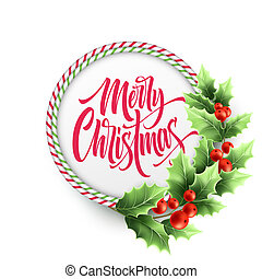 Merry Christmas lettering in circle candy cane frame