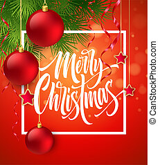 Merry Christmas lettering in square frame