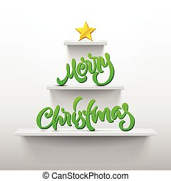 Merry Christmas lettering on ChristmasTree shaped shelves...