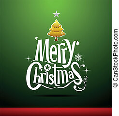 Merry Christmas lettering on green background, vector ...