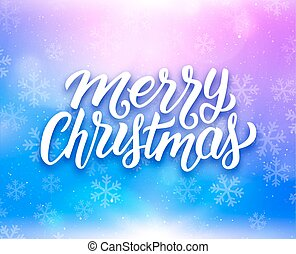 Merry Christmas lettering on vector greeting card