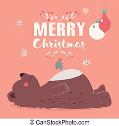 Merry Christmas lettering postcard with cute brown bear laying down