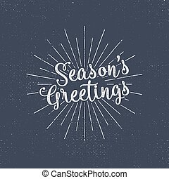 Merry Christmas lettering. Season's greetings. Holiday typography vector. Letters composition with sun bursts and halftone texture. Use as photo overlay, place to cards, print on t shirt, tee design.
