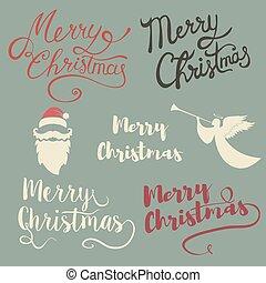 merry christmas lettering set.
