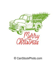 Merry Christmas lettering. Vector hand drawn toy pickup illustration. Happy Holidays greeting card, poster template.