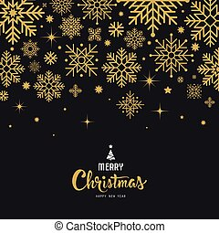 Merry Christmas lettering with snowflake gold design