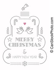 Merry Christmas line icons card