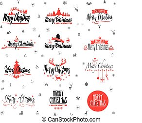 Merry Christmas logo collection - christmas icons vector graphic