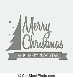 Merry christmas logotype with graphic christmas tree. Can be used to design cards, posters, decorating menu, shop windows