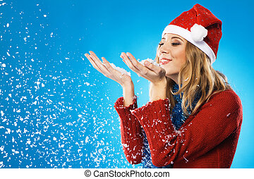 Merry Christmas - Lovely girl with a palms full of snow