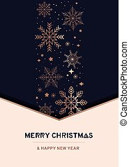 Merry Christmas luxury vector design template with rose gold snowflakes