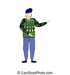 merry christmas man with green ugly sweater