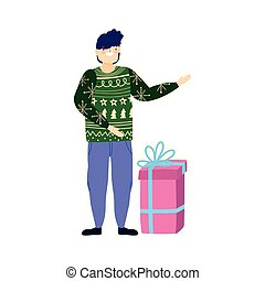 merry christmas man with ugly sweater gift celebration