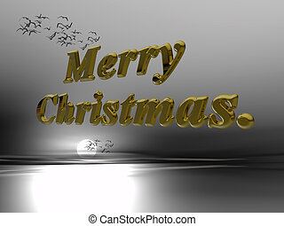 Merry christmas wish against the sky in 3D letters. 3D illustration, peace and joy to the world.