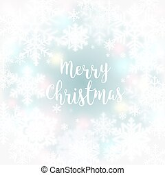Merry Christmas message and light background with snowflakes. Vector illustration Eps 10.