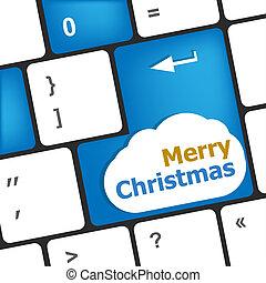 merry christmas message, keyboard enter key button