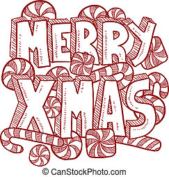 Merry Christmas message vector - Doodle style Merry Xmas or...