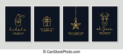 Merry Christmas modern card set elements greeting text lettering blue background vector