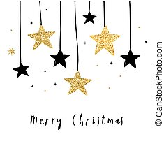 Merry Christmas - modern, clean background with black and gold stars, garlands