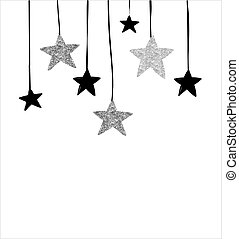 Merry Christmas - modern, clean background with black and silver stars, garlands