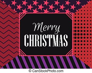 Merry Christmas modern pattern, fashionable background with stripes, stars and dots. Vector illustration