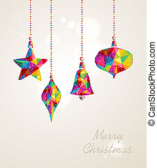 Merry Christmas multicolors hanging baubles composition - ...