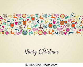 Merry Christmas multicolors reindeer illustration - ...