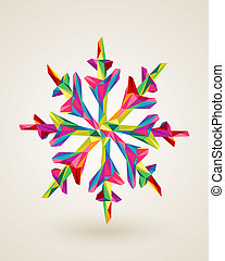Merry Christmas multicolors snowflake illustration
